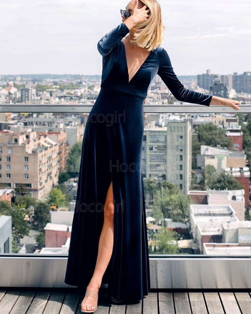 Navy Blue Long Sleeve Deep V-neck Velvet Mermaid Bridesmaid Dress with Slit