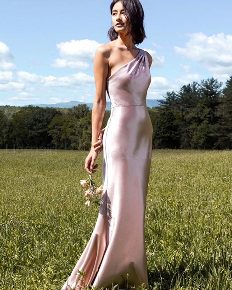 One Shoulder Light Pink Velvet Mermaid Bridesmaid Dress