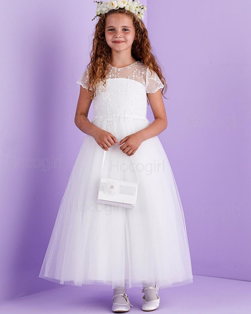 Lace Bodice Tulle Jewel White First Communion Dress with Short Sleeves FG1034