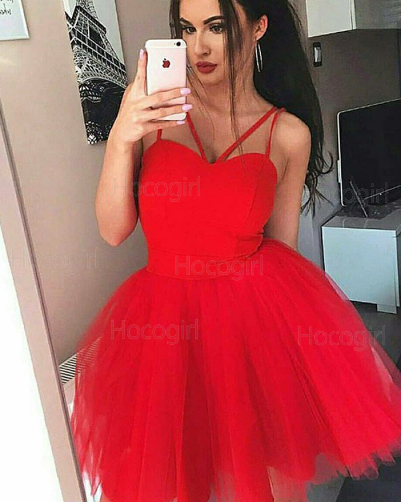 Simple Double Spaghetti Straps Red Homecoming Dress with Tulle Skirt HD3354