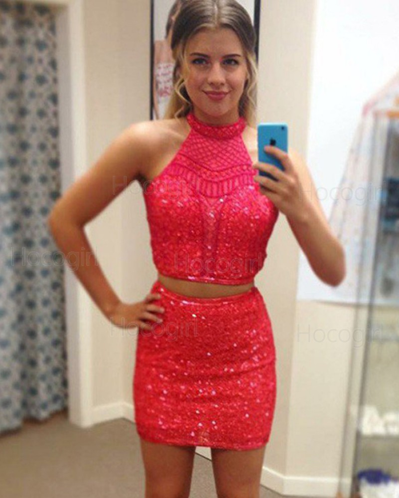 High Neck Sequin Two Piece Red Tight Club Dress HD3377