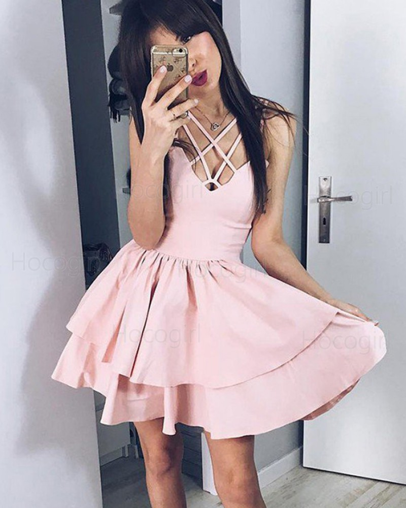 Simple Crisscross Pearl Pink Pleated Layered Homecoming Dress HD3386