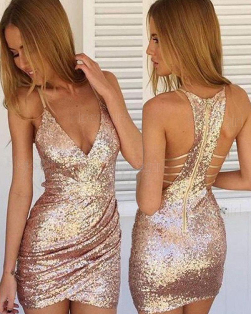 Spaghetti Straps Gold Sequined Ruched Bodycon Club Dress HD3413