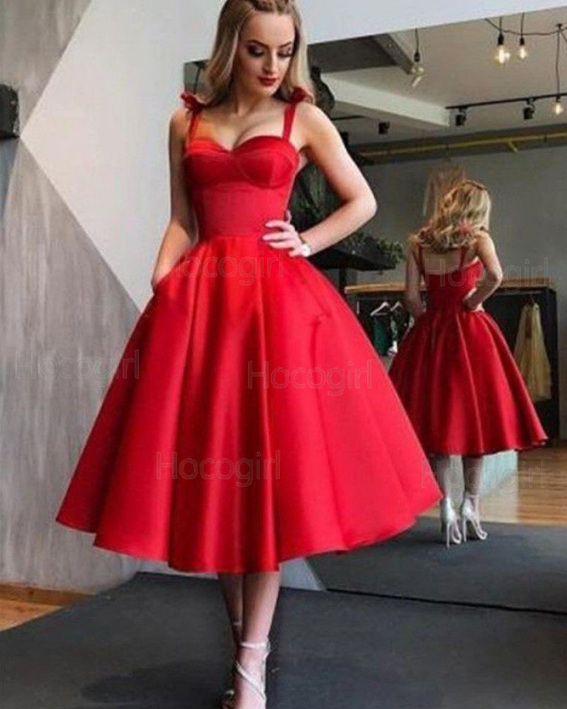 Simple Square Red Satin Tea Length Graduation Dress with Pockets HD3417