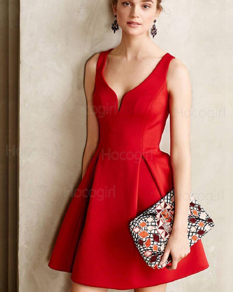Simple Elegant Square Neck Red Cutout Satin Short Formal Dress HD3421