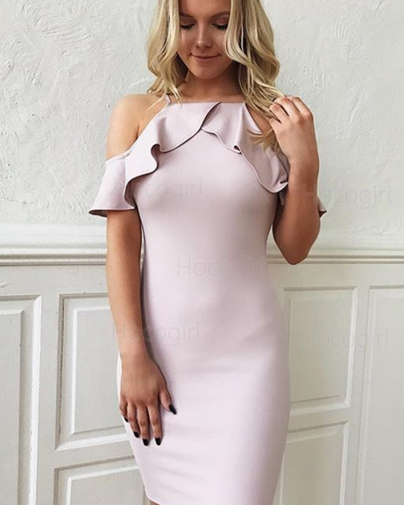 Simple Layered Neck Cold Shoulder Bodycon Light Purple Party Dress HD3475