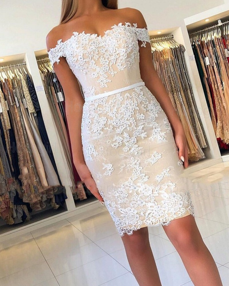 Off the Shoulder Lace Appliqued Nude Bodycon Party Dress HD3478