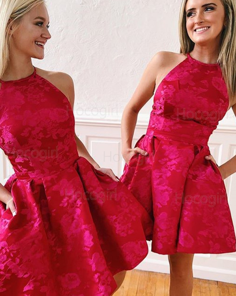 High Neck Red Lace Homecoming Dress with Pockets HD3489