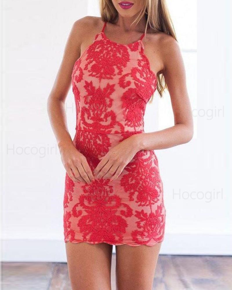 Spaghetti Straps Red Lace Bodycon Party Dress HD3515
