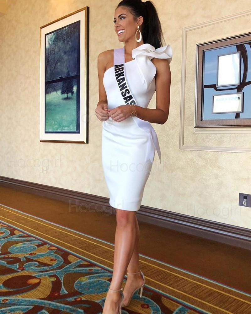 One Shoulder White Tight Satin Homecoming Dress NHD3562