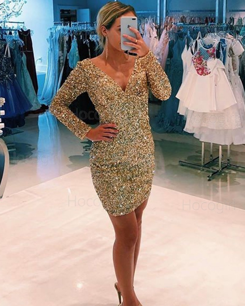 V-neck Gold Beading Tight Club Dress with Long Sleeves HD3587