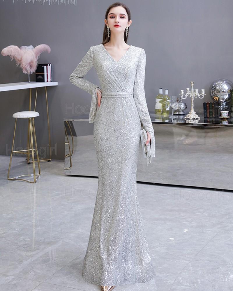 Elegant Silver Sequin Mermaid