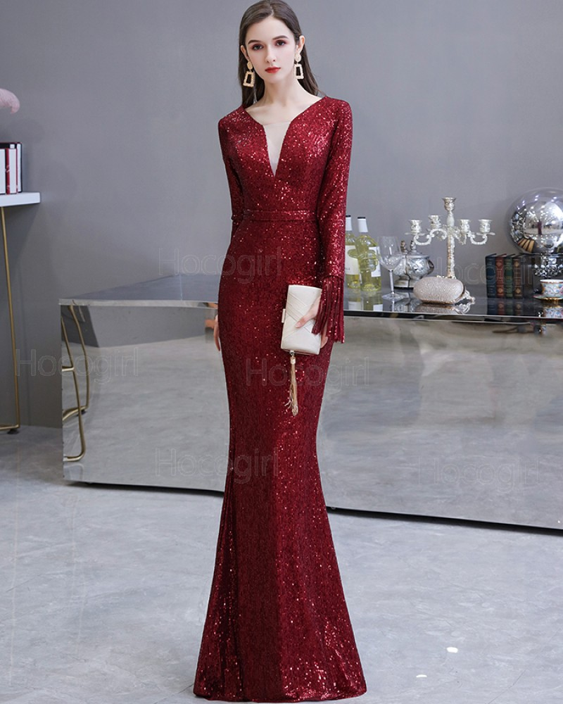 Elegant Burgundy Sequin Mermaid Evening Dress with Long Sleeves HG24446