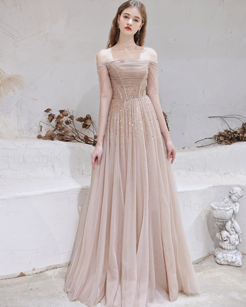 Off the Shoulder Nude Beading Tulle Evening Dress with Long Sleeves HG321015