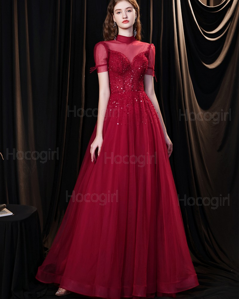 High Neck Burgundy Tulle Beading Evening Dress with Short Sleeves HG361011