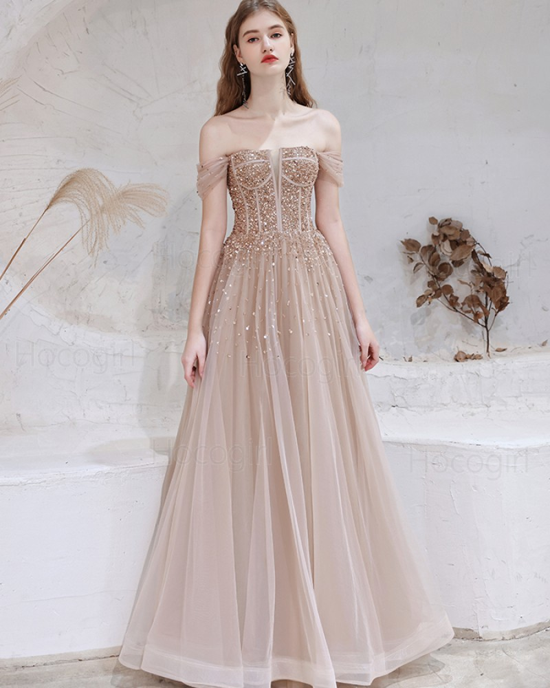 Off the Shoulder Beading Tulle Nude Evening Dress HG361012