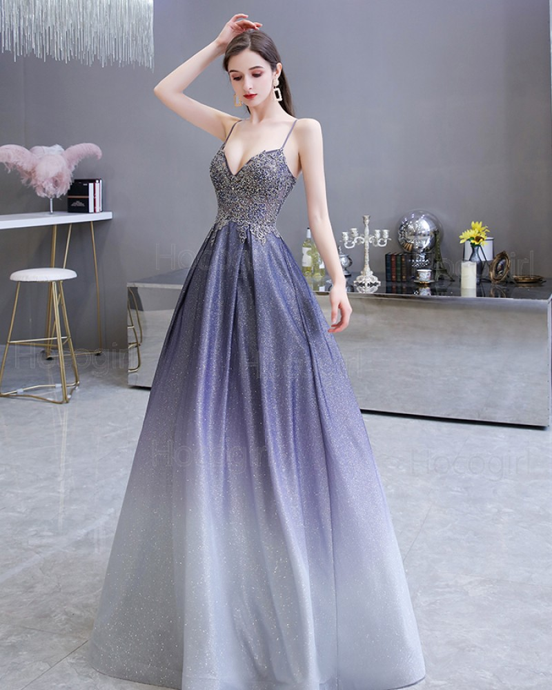 Spaghetti Straps Ombre Starry Sky Satin A-line Evening Dress with Pockets HG39450