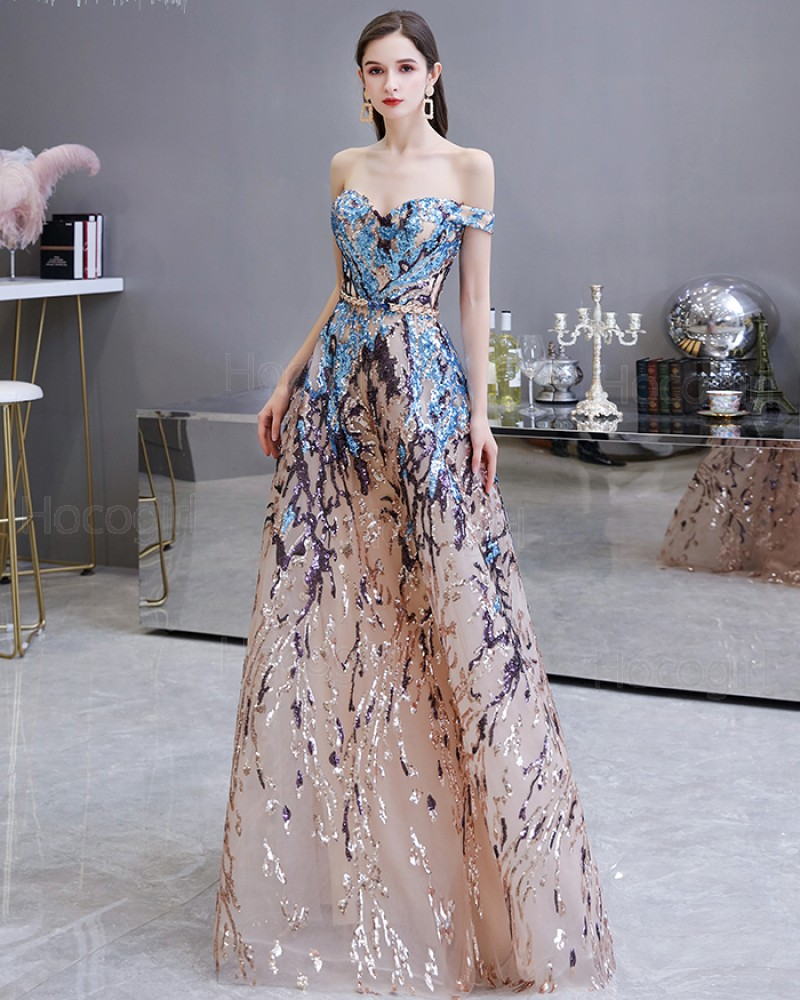 Off the Shoulder Floral Sequin Lace Evening Dress HG45449