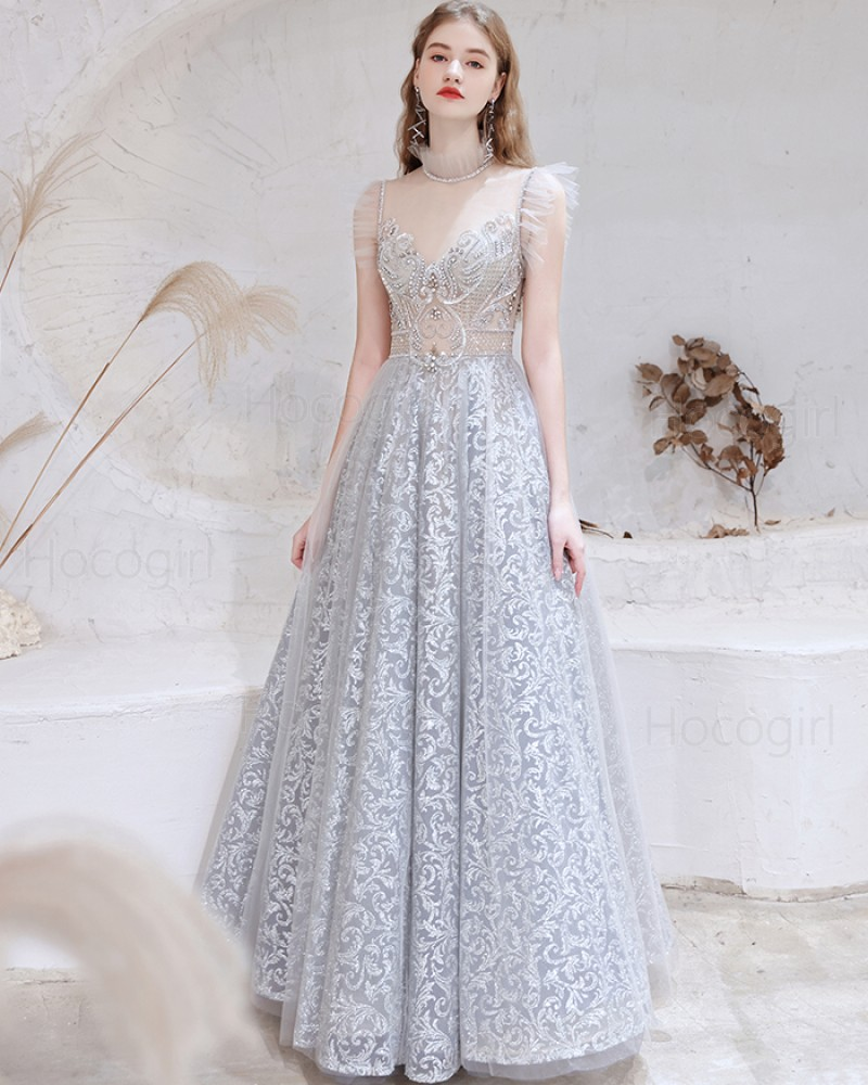 Gorgeous High Neck Dusty Blue Sequin Lace Evening Dress with Cap Sleeves HG551020