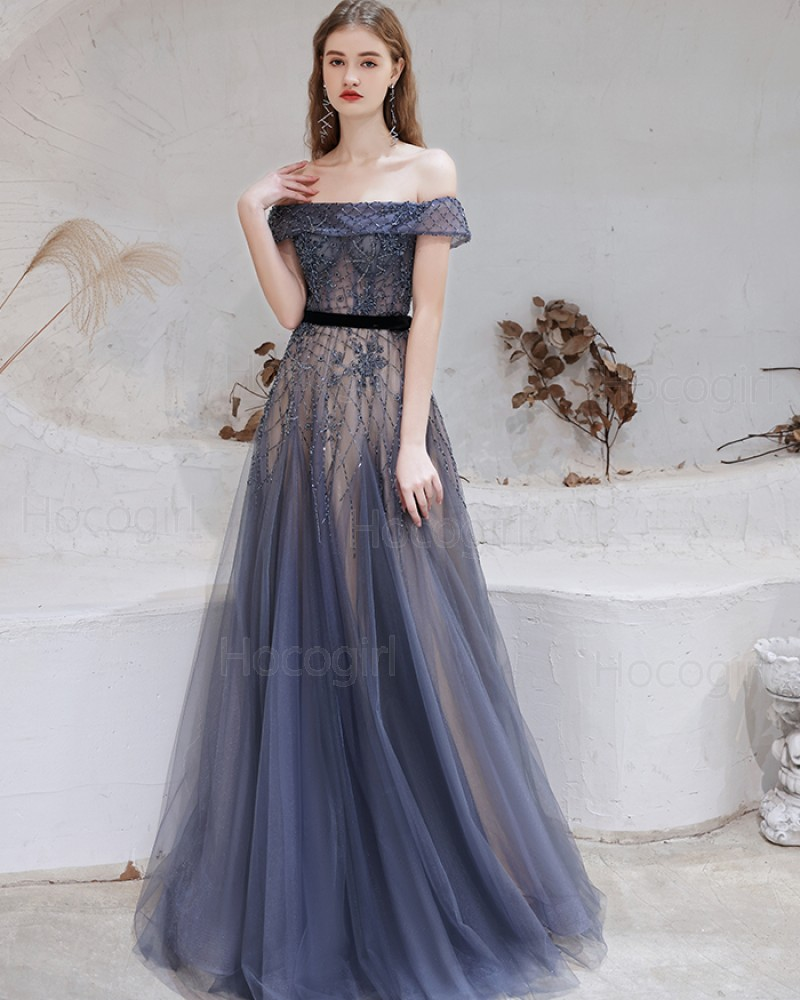 Off the Shoulder Beading Navy Blue Evening Dress HG611017
