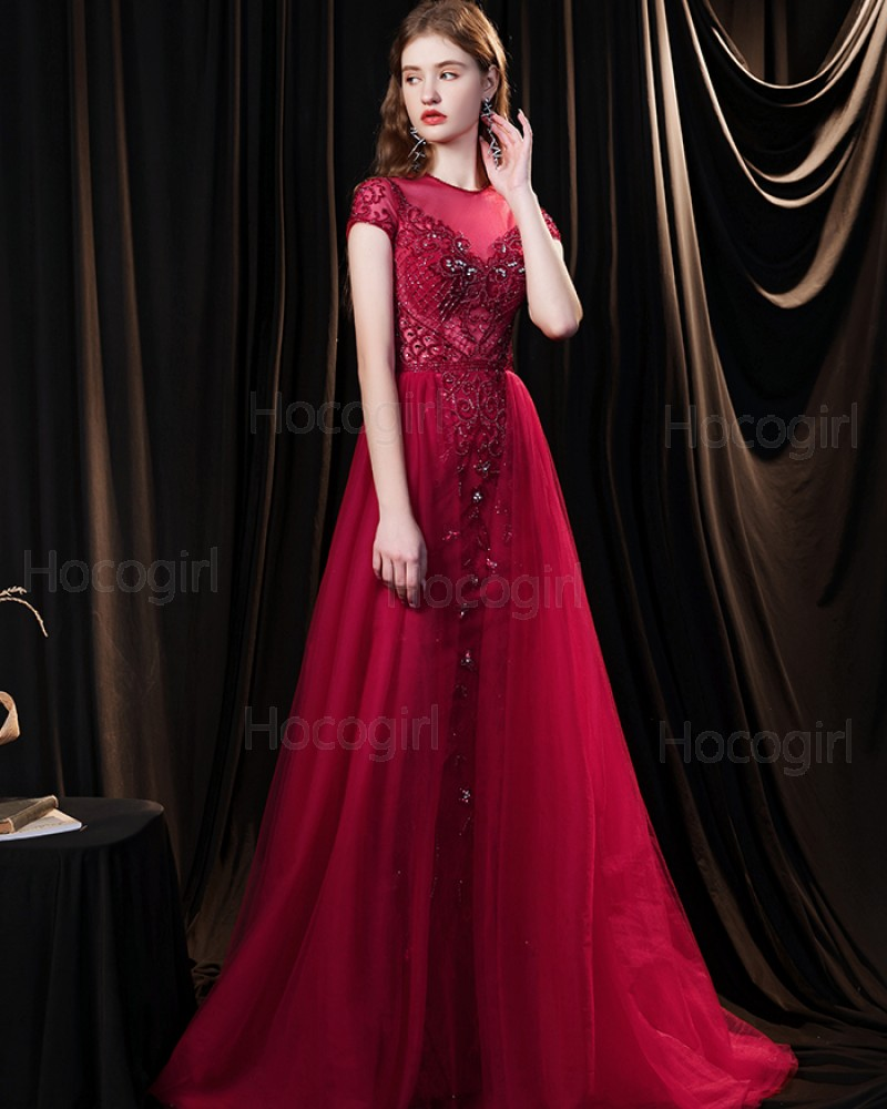 Jewel Neck Beading Red Tulle Evening Dress with Short Sleeves HG691023