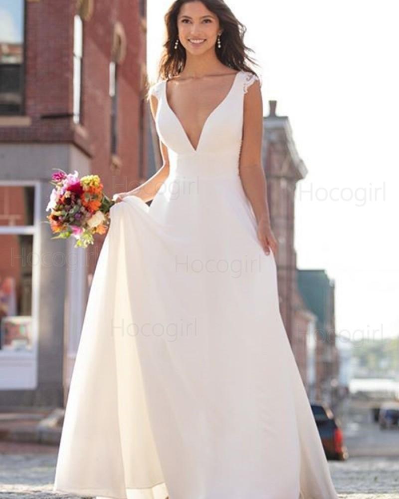 Shop Simple V Neck Ivory A Line Empire Wedding Dress From Hocogirl Com