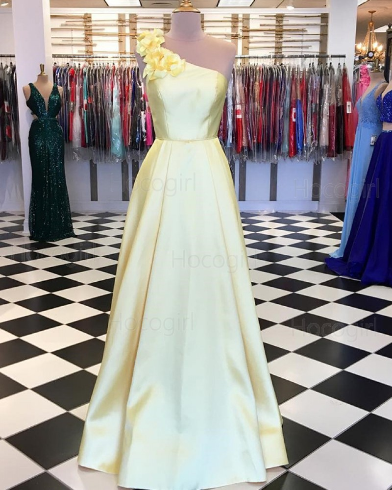 One Shoulder 3D Flower Appliqued Yellow Satin Prom Dress PD1629