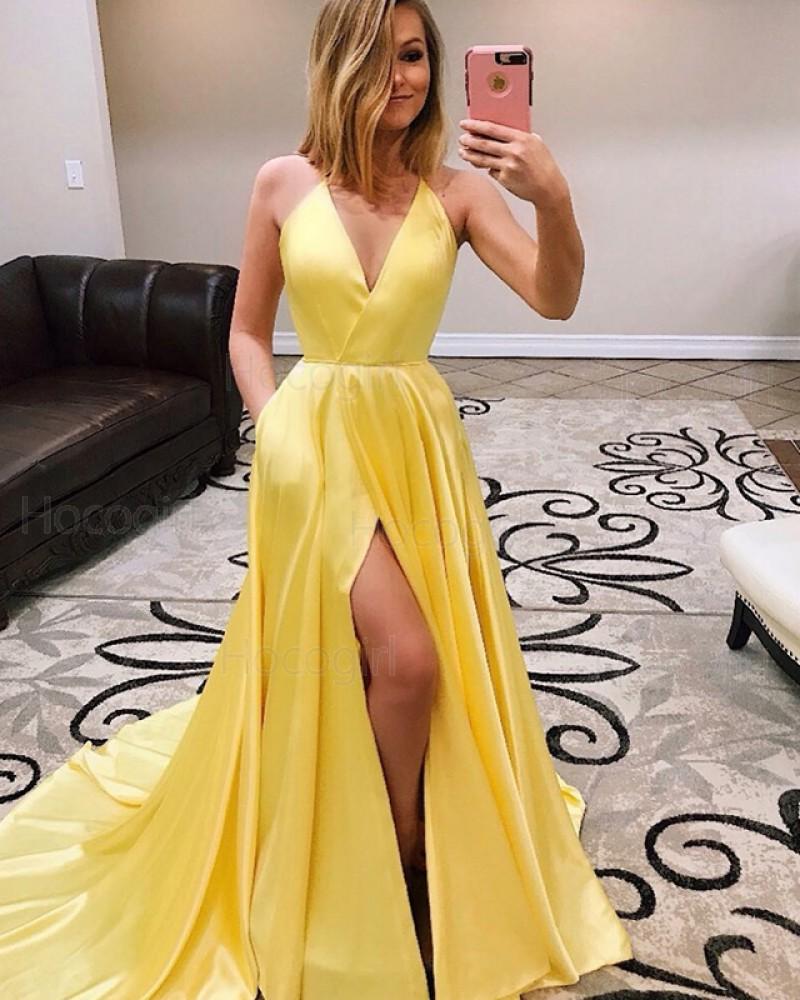 V-neck Pleated Side Slit Satin Prom Dress with Pockets PD1630