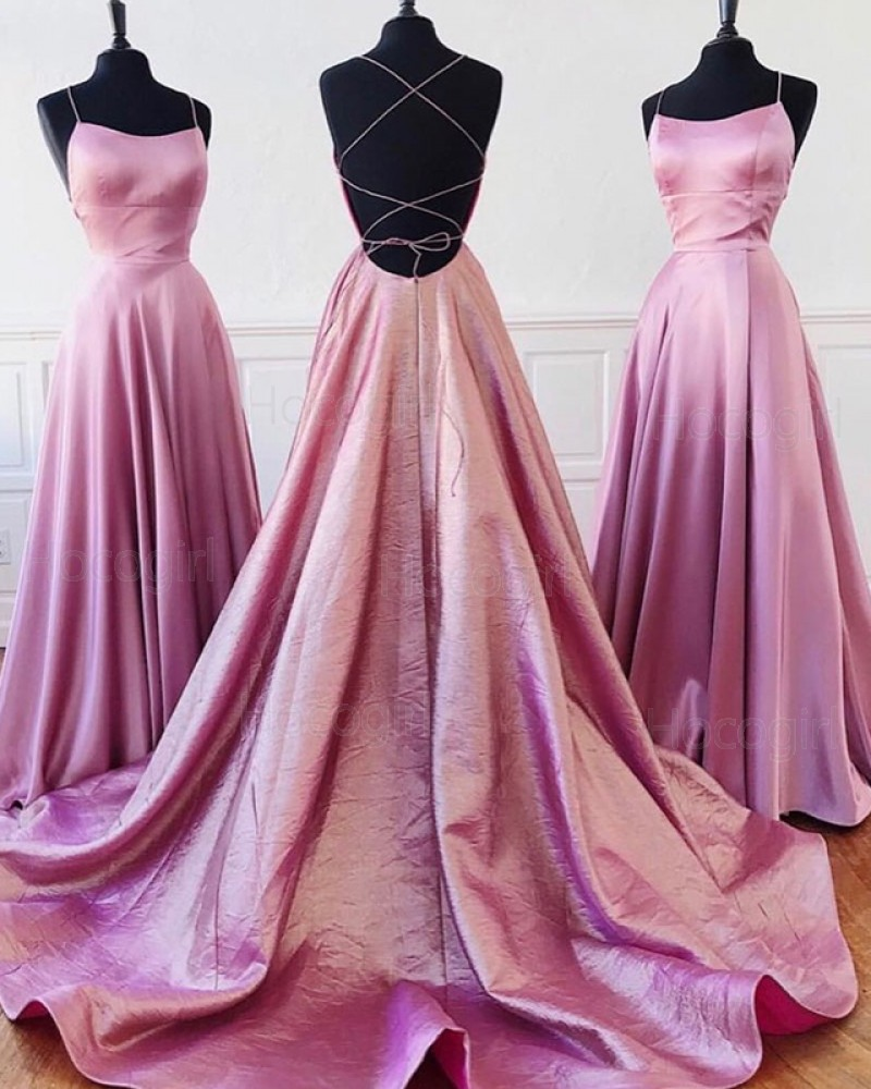 Simple Lavender Pleated Spaghetti Straps A-line Prom Dress PD1636