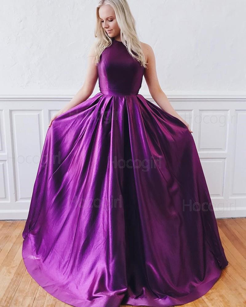 Jewel Purple Simple A-line Satin Pleated Prom Dress PD1637