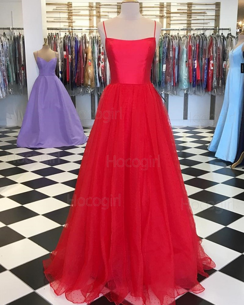 Spaghetti Straps Red Pleated Simple Prom Dress with Tulle Skirt PD1644
