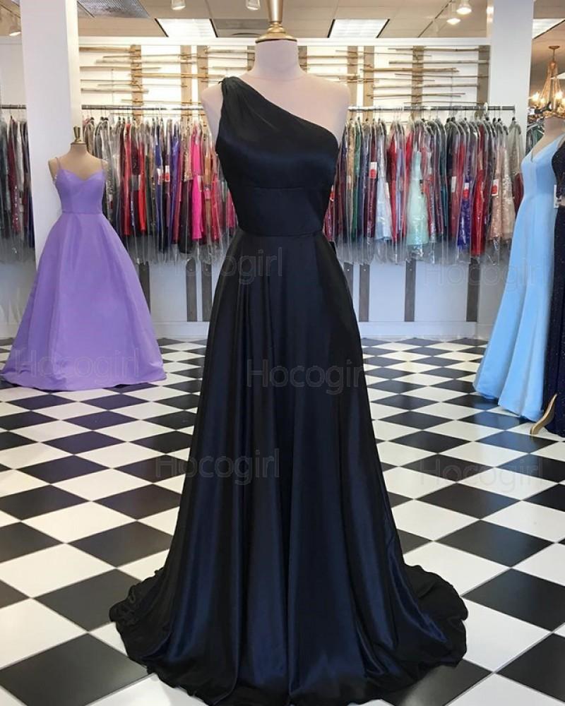 One Shoulder Simple Navy Blue Satin Prom Dress PD1645