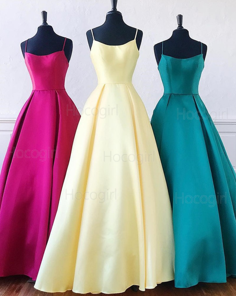 Spaghetti Straps Simple Satin A-line Prom Dress PD1649