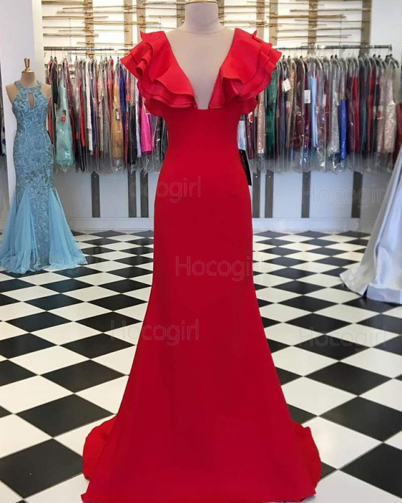 Jewel Neck Red Mermaid Satin Prom Dress with Layered Sleeves PD1656