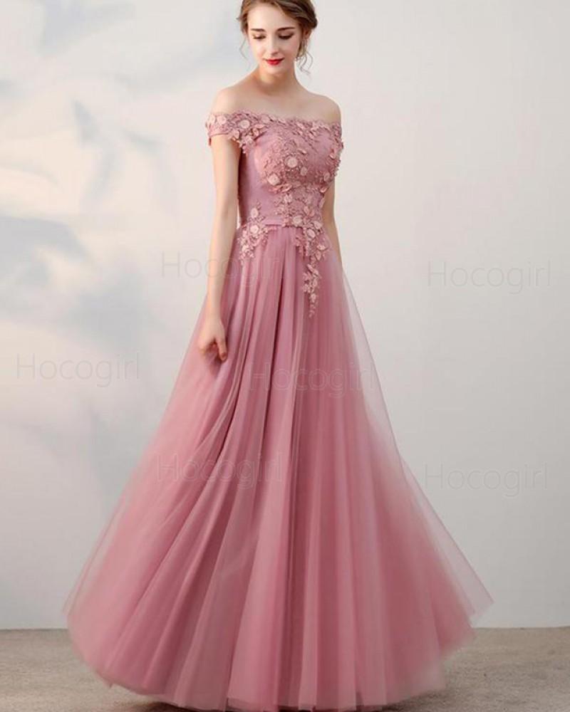 Off the Shoulder Blush Pink Appliqued Bodice Tulle Prom Dress PD1665