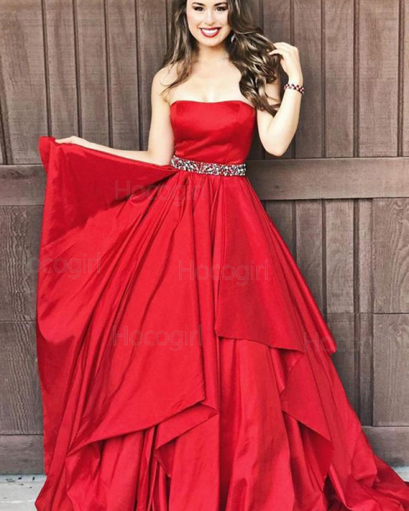 Strapless Ruffle Red Satin Prom Dress with Beading Belt PD1677