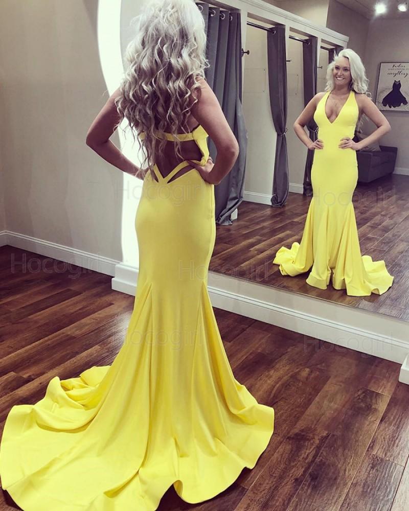 Deep V-neck Simple Satin Cutout Mermaid Prom Dress PD1685