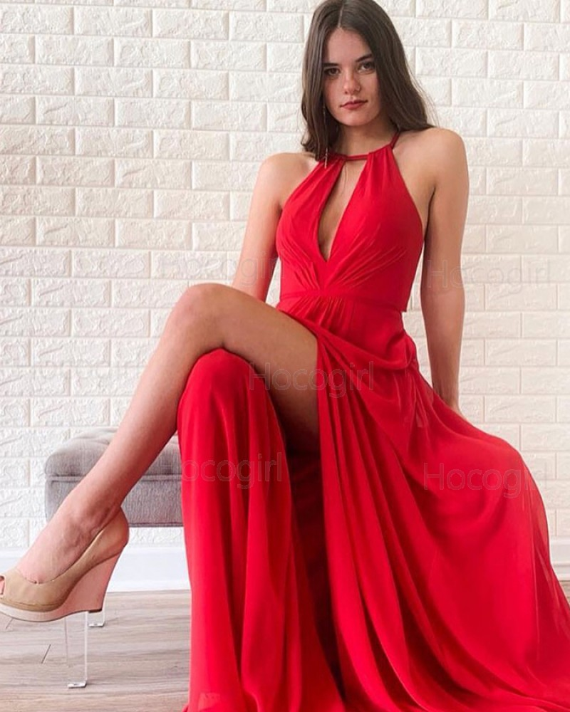 Halter Red Cutout Ruched Satin Simple Prom Dress with Side Slit PD1698