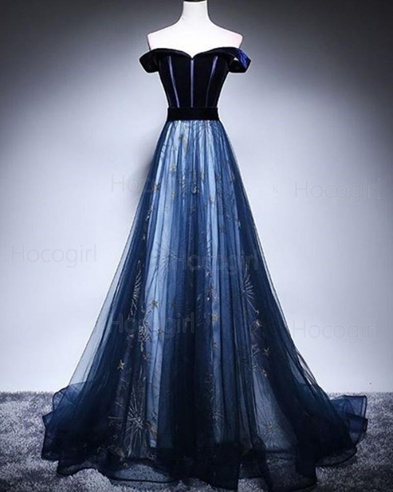 Off the Shoulder Navy Blue Sparkle A-line Prom Dress PD1703
