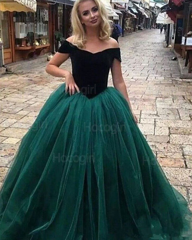 Off the Shoulder Black & Green Evening Gown PD1709