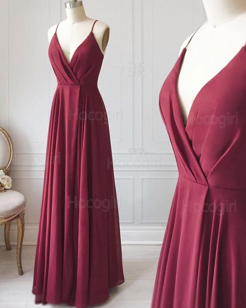 V-neck Burgundy Ruched Satin Simple Long Formal Dress PD1712