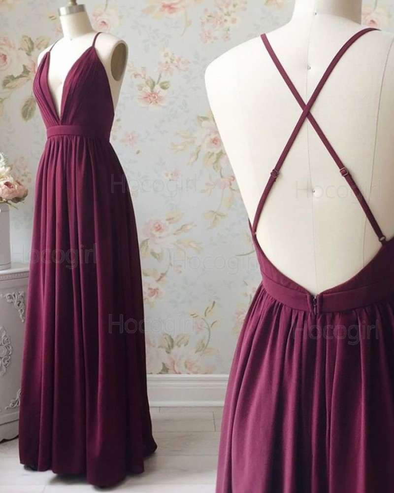 Spaghetti Straps Burgundy Pleated Simple Formal Dress PD1719