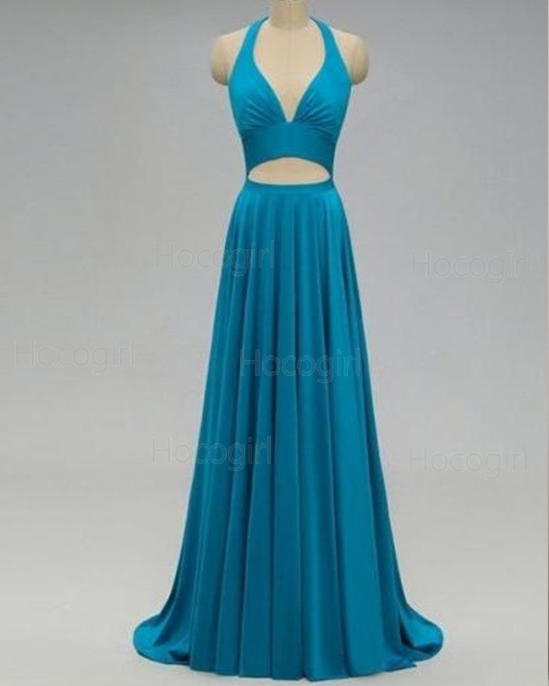 Halter Satin Cutout Pleated Formal Dress with Open Back PD1723