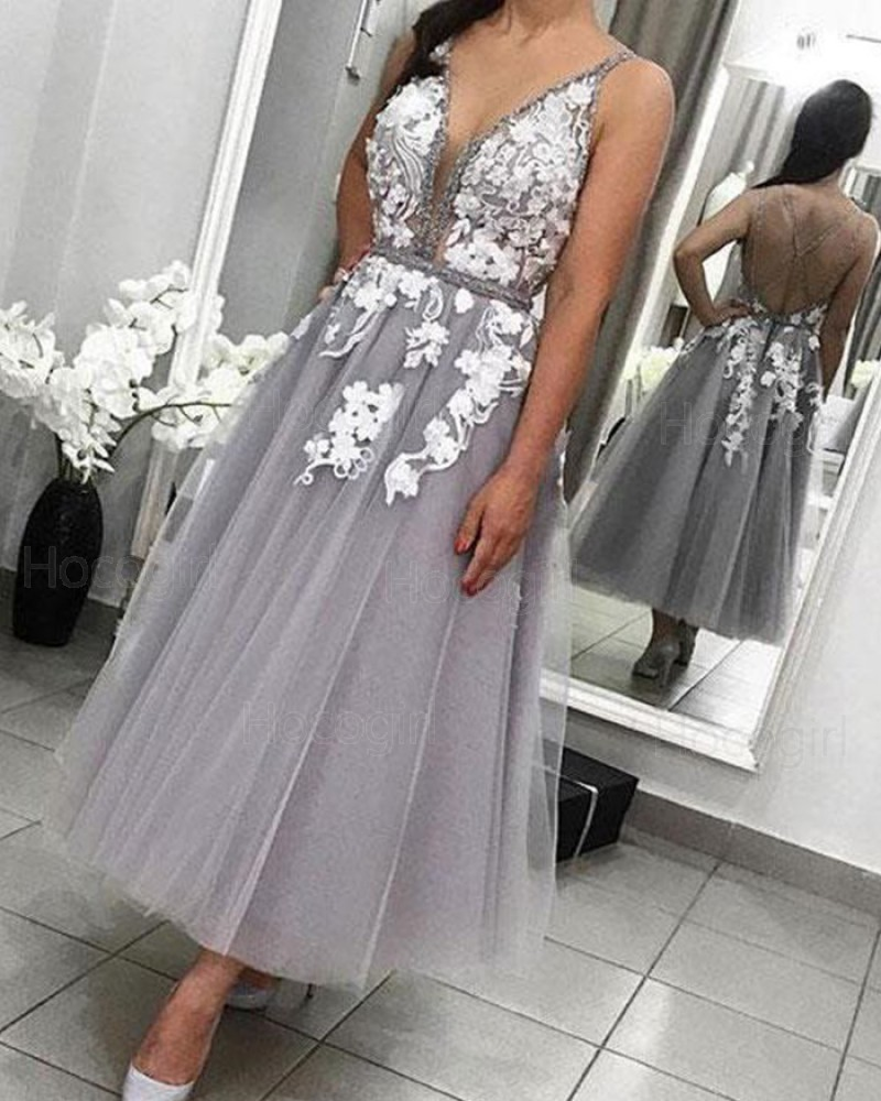 Deep V-neck Lace Appliqued Grey Tulle Ankle Length Formal Dress PD1724