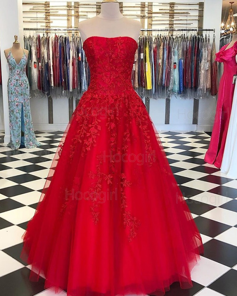 Strapless Red Appliqued Tulle Prom Dress PD1741
