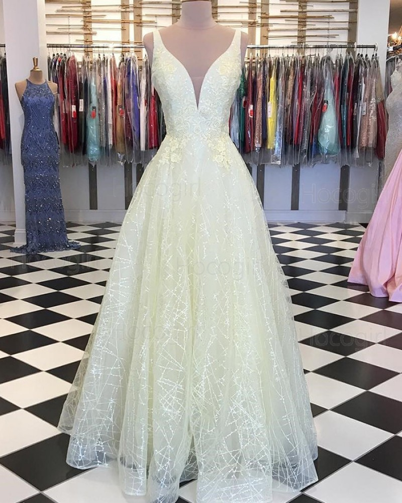 Deep V-neck Light Yellow Appliqued Sparkle Prom Dress PD1746