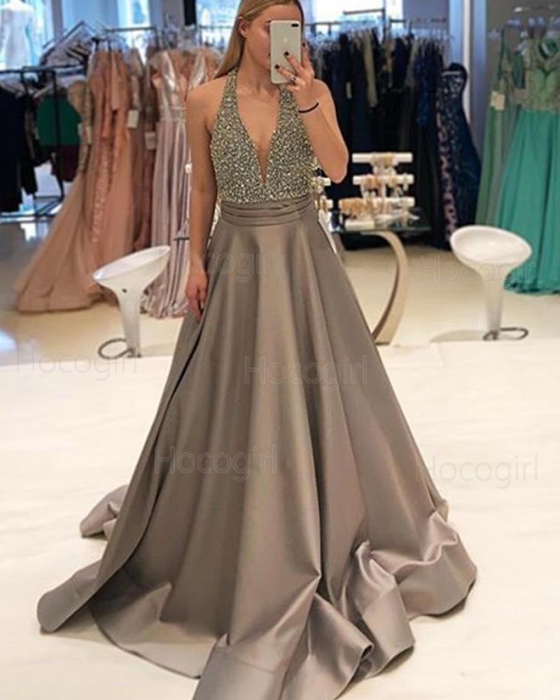 Halter Beading Bodice Satin Brown Prom Dress PD1748