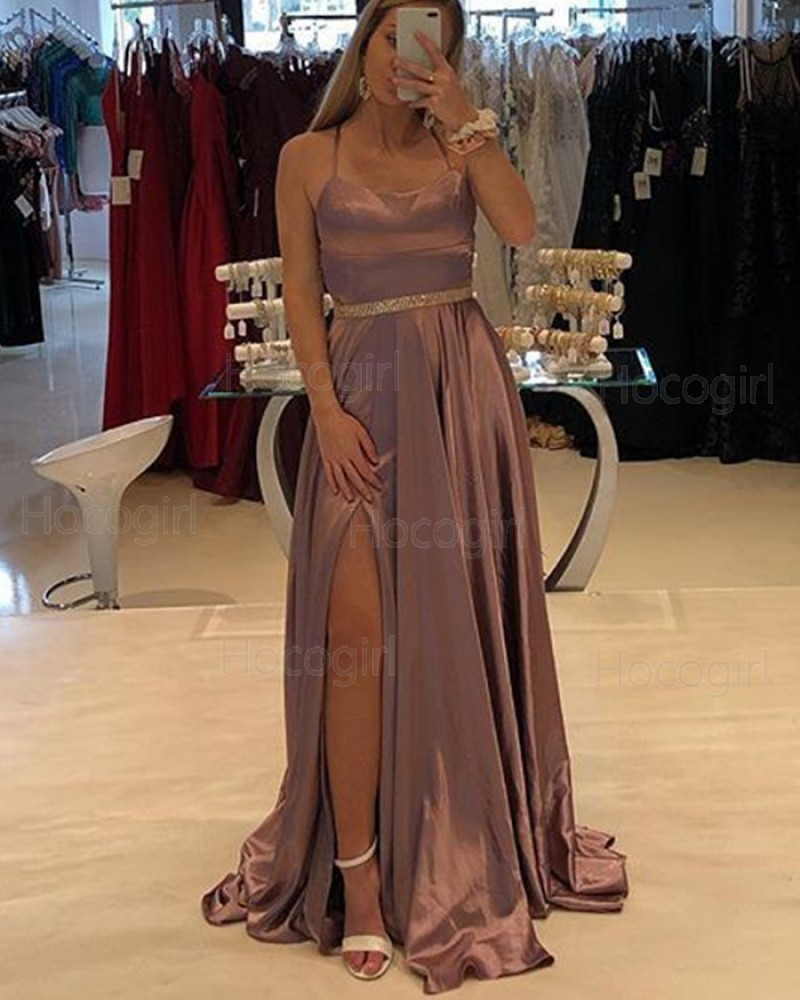 Spaghetti Straps Brown Satin Prom Dress with Side Slit PD1751