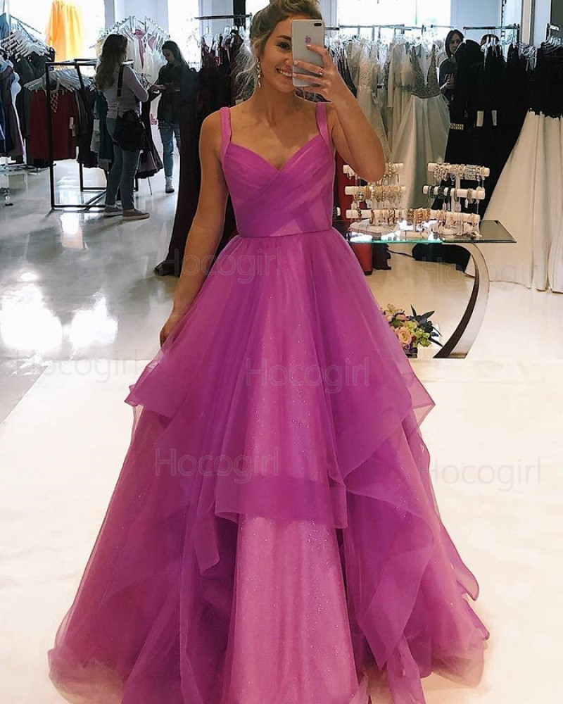Square Purple Sparkle Tulle Ruffled Prom Dress PD1752
