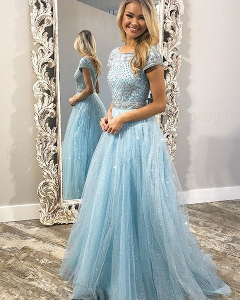 Jewel Beading Bodice Sparkle Light Blue Tulle Prom Dress with Short Sleeves PD1754
